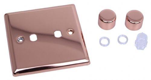 Varilight WY2.CU Urban Polished Copper 2 Gang Dimmer Plate Only + Dimmer Knobs